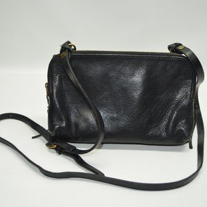 Madewell Twin Pouch Black Leather Crossbody Bag